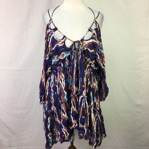 Free People Blue Print Shoulder Lace Up Boho Dress